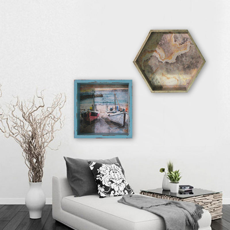 30*30cm antique look square blue color seascape shadow box, toy shelf for living room decor