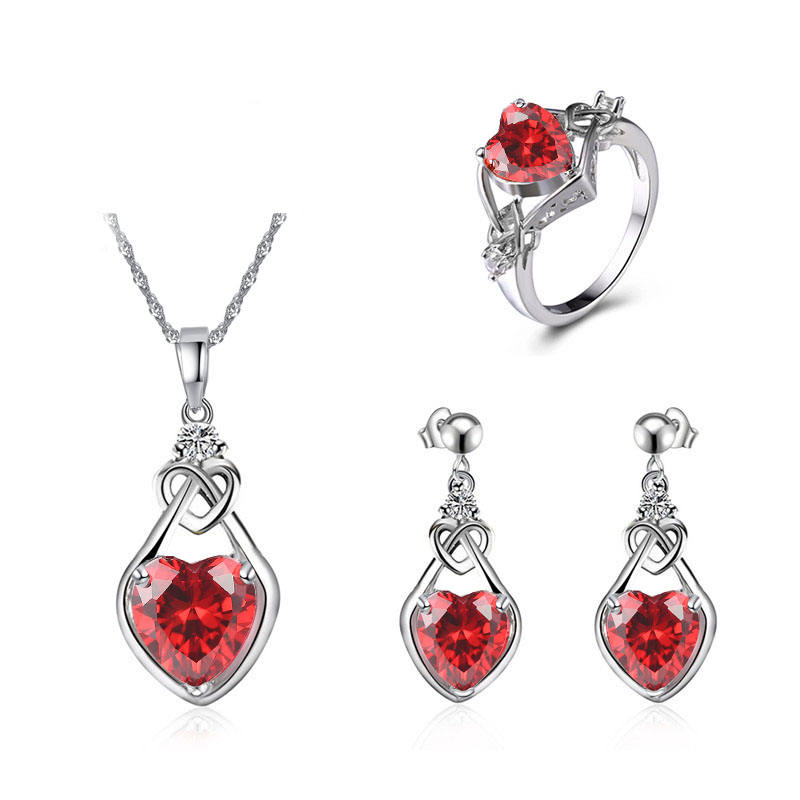 Red Heart Shape Jewelry Sets Silver Color Micro Pave Inlay Zirconia Necklace/Earring/Ring Sets For Lovers