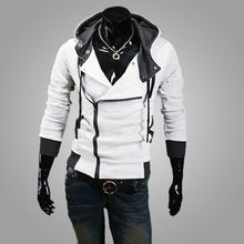 Mens Fashion Hoodie Diagonal zipper Hooded Sweater