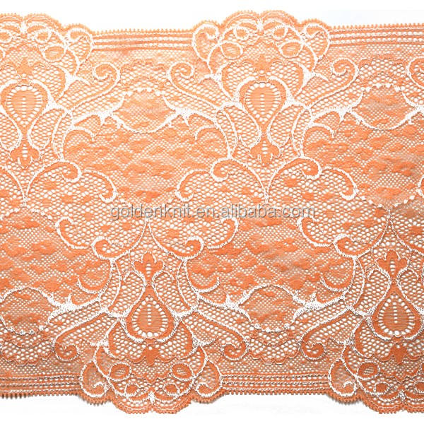 Golden Knit 22cm Width Factory Direct Wholesale Elastic Jacquard Lace Trimming 71007A