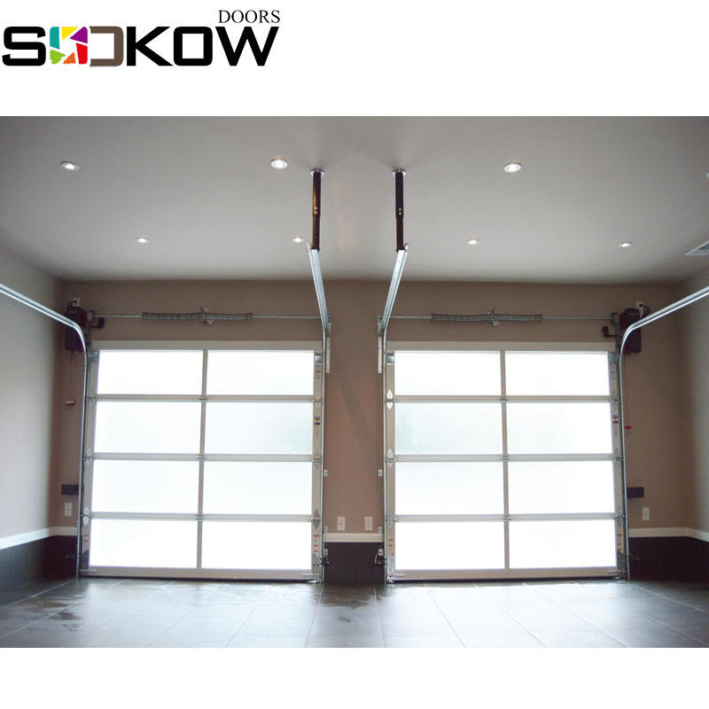 aluminum natural color frame 8*7 frosted glass sectional glass garage door