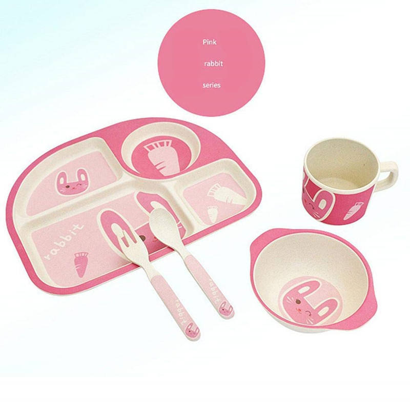 Eco Friendly Children Tableware 5pcs Healthy Bamboo Fibre Dinner Set