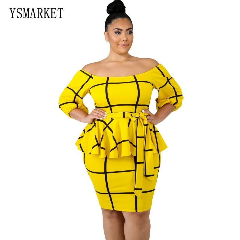2 Color New Sexy Clubwear Plus Size Dresses For Women With Sleeves Casual Office Ladies Bodycon Peplum Dress Knee Length E63041