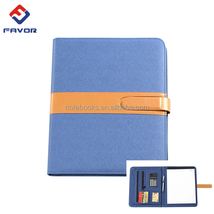 Profession fashion promotion custom A4 leather padfolio