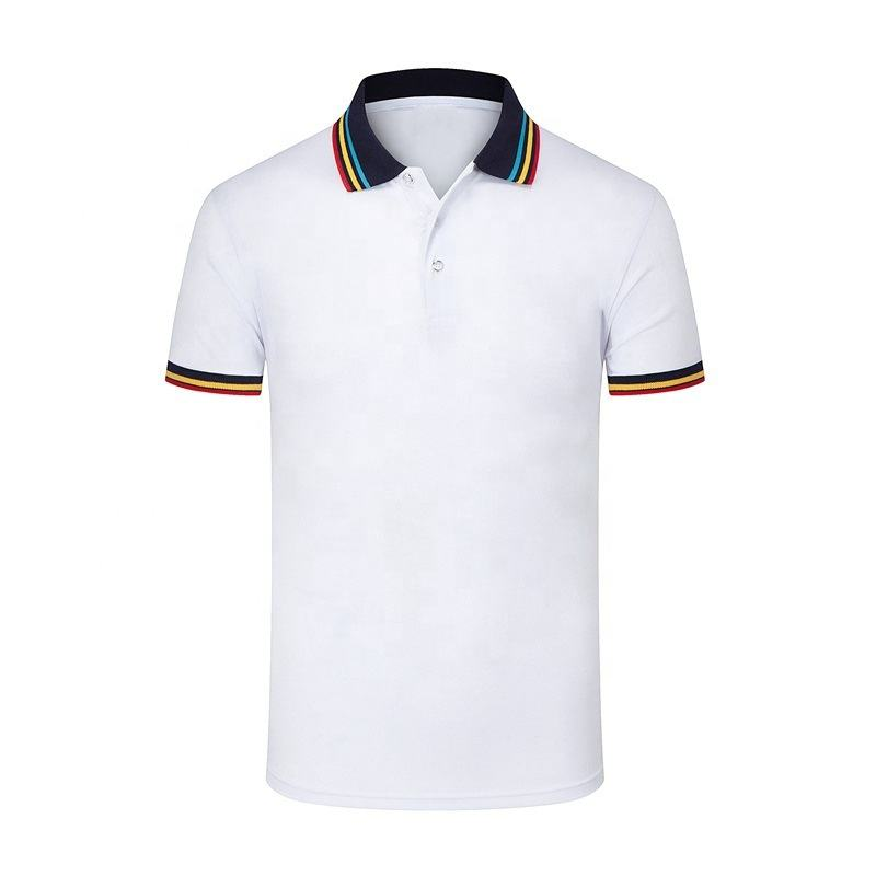 Triple Stripe Contrast Collar 100% Cotton Pique Polo Shirts Custom Logo Golf Tennis Men's Shirts Wholesale clothing Mix Colors