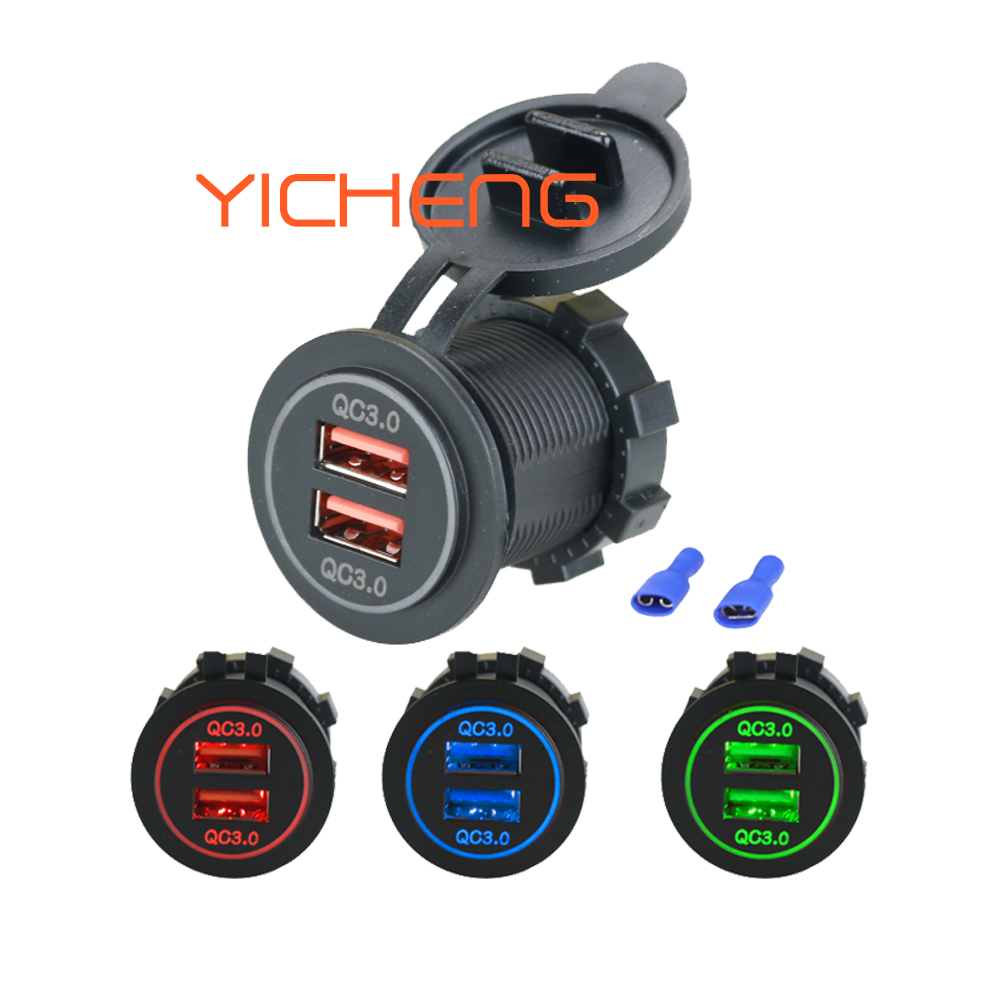 12 V 24 V Universal USB Dual Port Fast Car Charger QC 3.0
