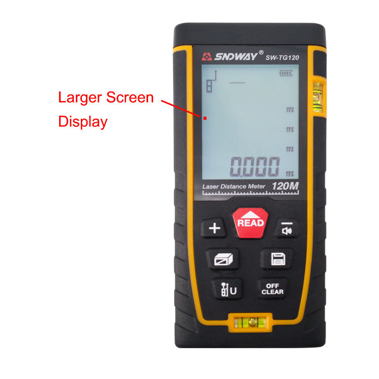 Mute setting 2 Bubbles Large Display 120 Meter Range Finder Laser Distance Measurer meter