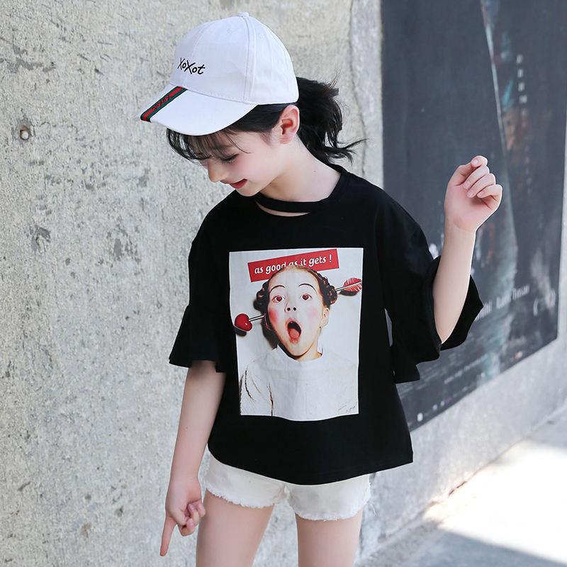 Fashion hole neckline cute cartoon cotton teen tshirt blank kid t shirt girl