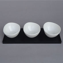 Ceramic snack bowls with wood snack tray