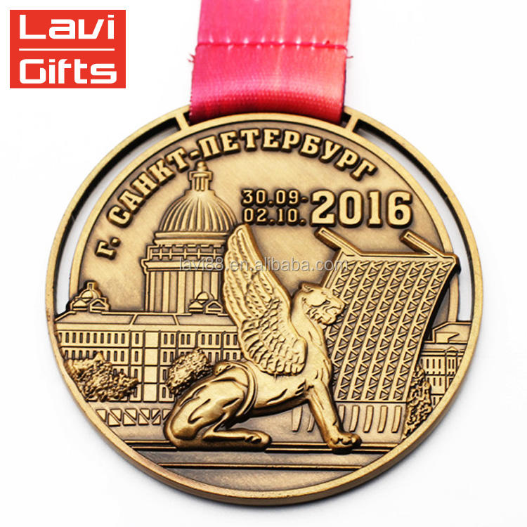 Wholesale Custom Sport Antique Gold Plating Metal Miniature Medal