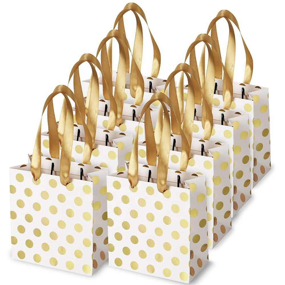 Small Gift Bags with Handles Gold Mini Gift Bag Birthday Weddings Christmas Holidays Kraft Paper bag