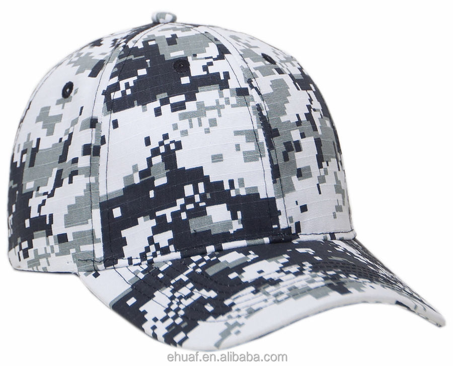 Cotton structured navy army rip stop digital camo white grey baseball cap