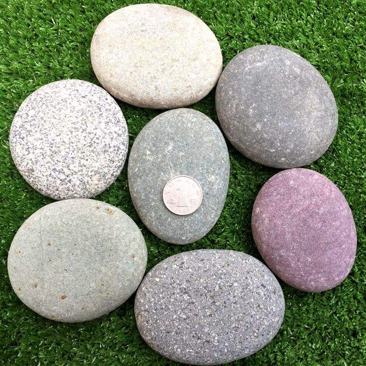 beautiful colored flat round natural stone DIY painting pebbles