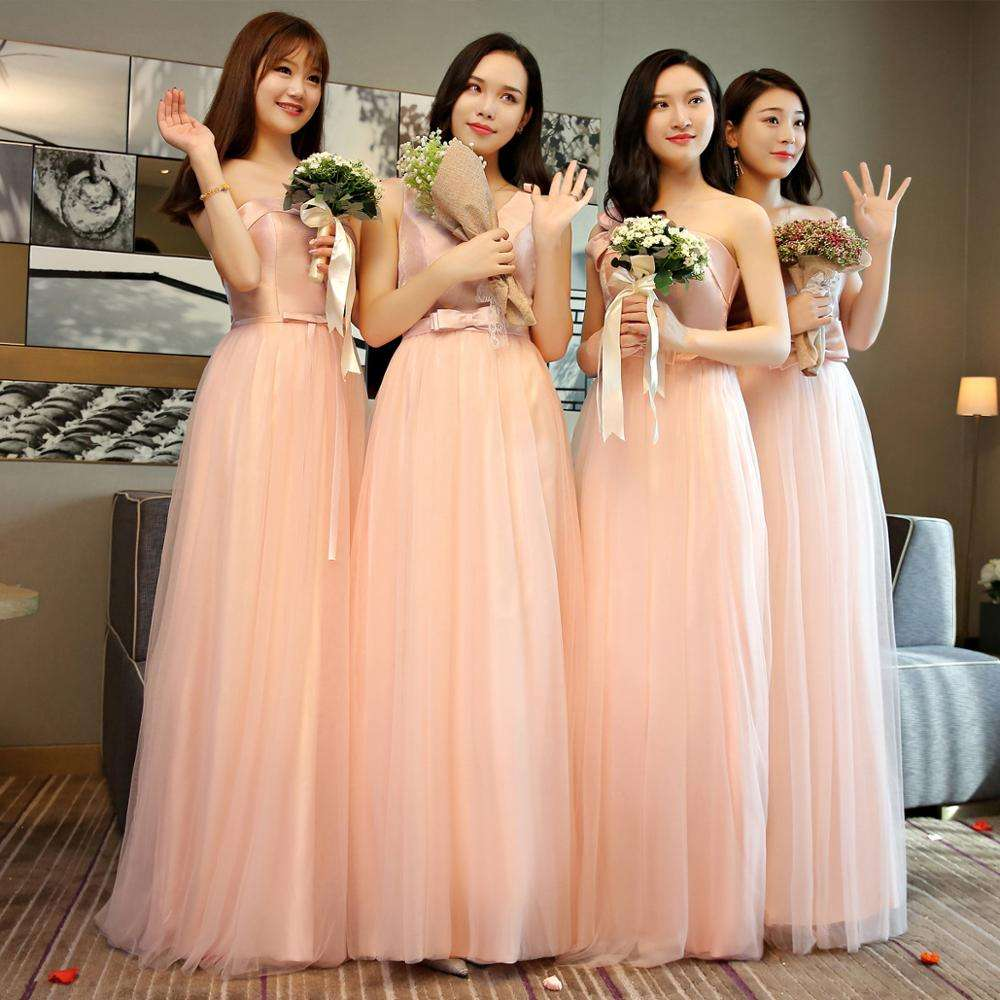 4 styles for Choosing Sisters Party Dress Satin bridesmaid dress Long women dress for wedding