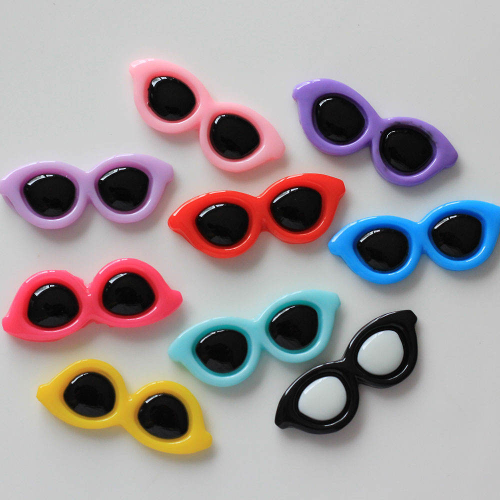 Mixed Color Cool Style Resin Sun Glasses Flat Back Cabochon Craft Embellishment
