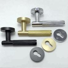 Top quality knurling design Solid Brass Chrome plated door lever handle with rose/rosette
