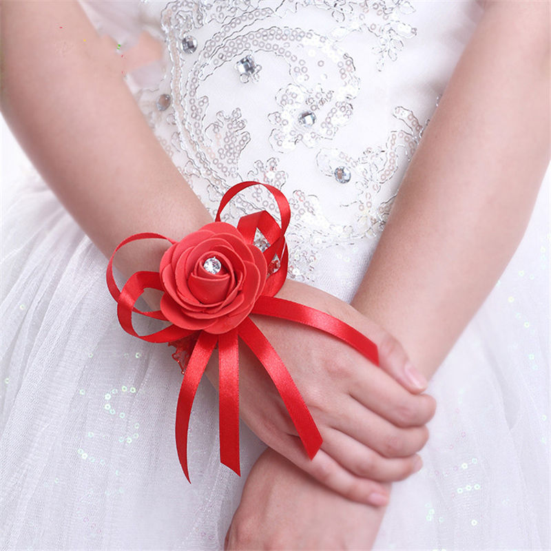 Bridesmaid Artificial Rose Wrist Flowers Hand PE corsages For Wedding Decoration
