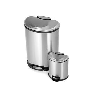 Large capacity stainless steel 13 gallon kitchen trash can with lid
