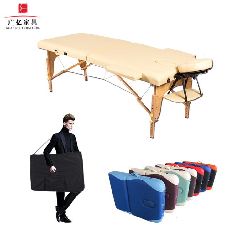 Spa Bed Beauty Cheap Folding Portable Acupuncture De Massage Table Adjustable Salon Facial Reiki for with Wooden Leg