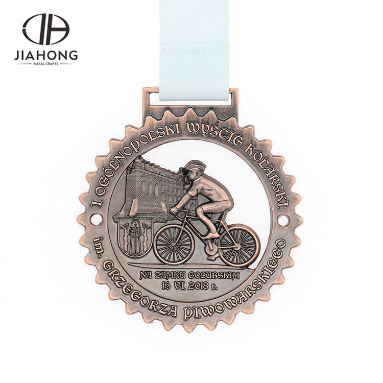 Engraved commemorative metal brass souvenir medal in sports