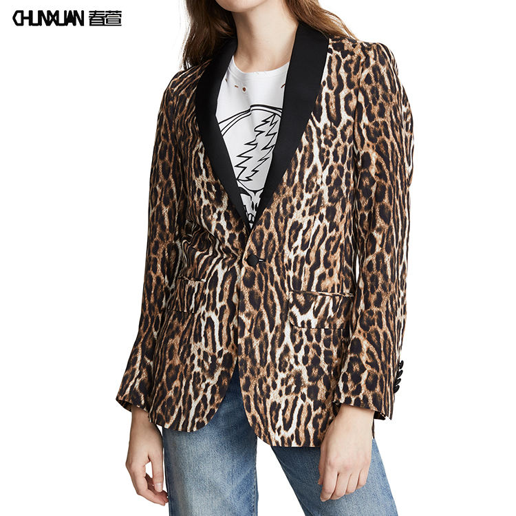 High Quality OEM Contrasting Colors Collar Long Sleeves Leopard Print Slim Fit Blazer For Women Daily Wear Jacket Blazer