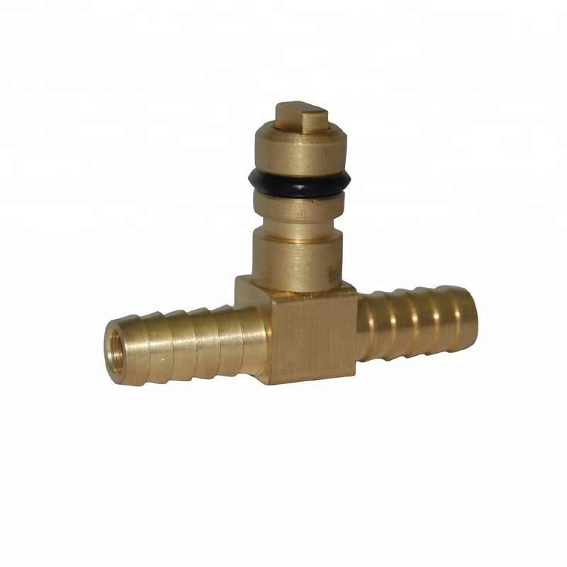 brass check valve offset 1/4 barb tee CO2 syrup inlet fitting