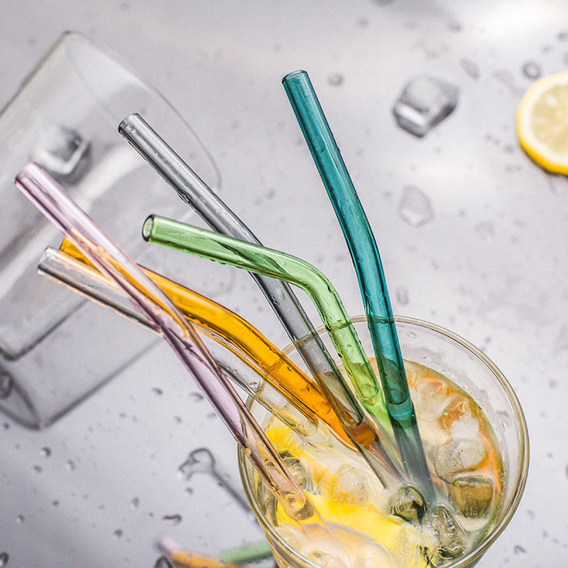 Colorful 8*200mm High borosilicate glass straws straight