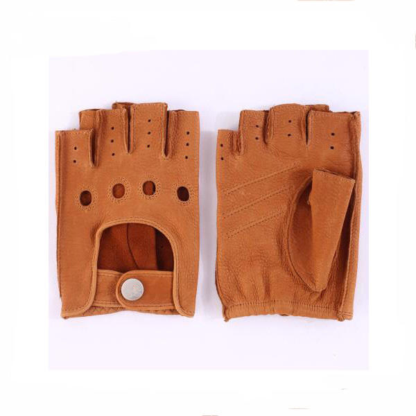 Camel Wholesale Fingerless Driving Leather Gloves For Mens