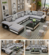 Foshan Furniture Modernos e Luxuosos Sectional Couch Covers U Shape 7 Seater Corner Fabric Sofa for living room