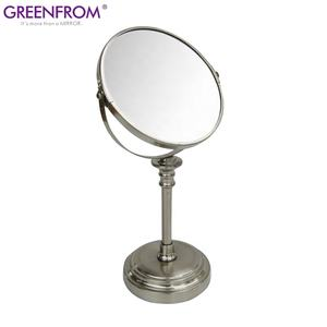 Double sides 360 degree rotating table free standing metal 10x cosmetic makeup mirrors for beauty salon
