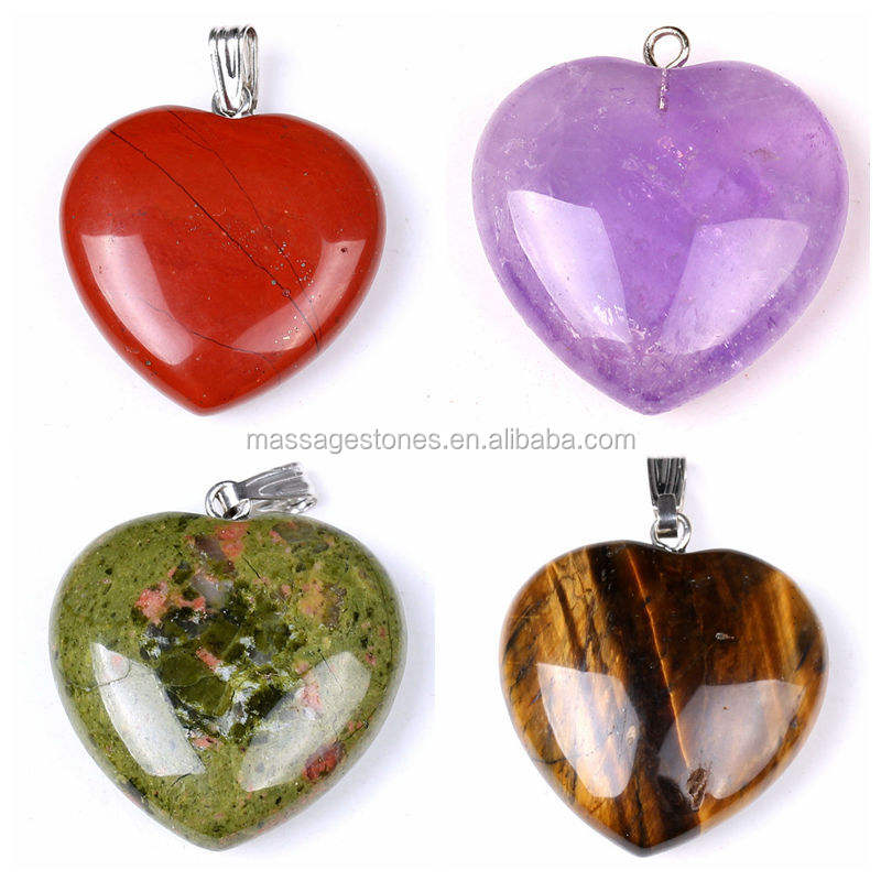 Wholesale amethyst/gold tiger eye/unakite jasper/rose quartz heart pendants for gifts