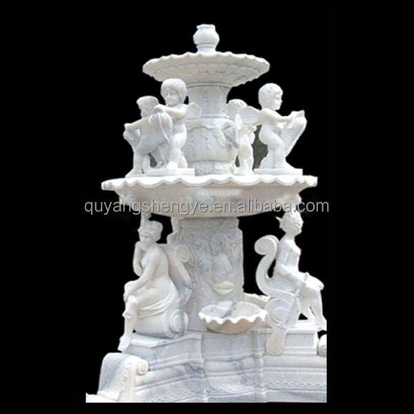 natural marble boy and girl fountain sculpture