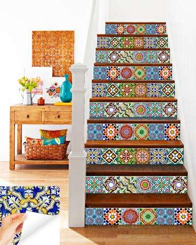 Kitchen Bathroom Stair Riser Tile Stickers - Backsplash Counter Tiles Decal : Pack of 24
