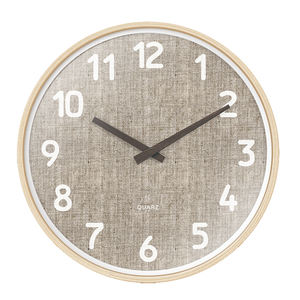 Top selling 12inches Round Shape wall clock with Solid Wood Frame and cloth dial for wooden wall clock
