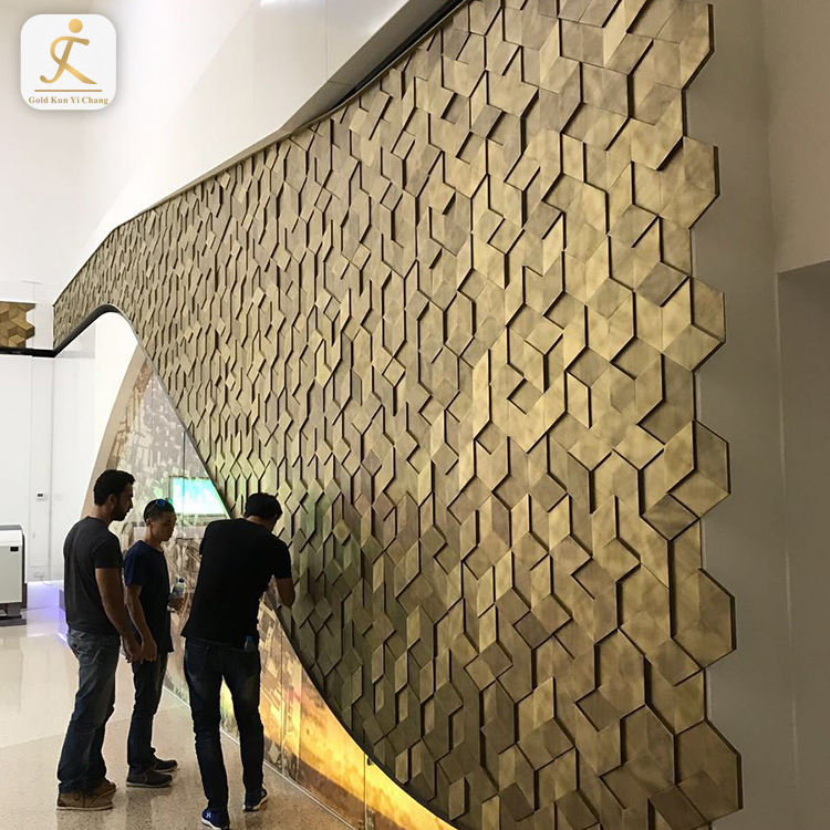 shopping mall hotel cladding stainless steel textured interior wall decorative board 3D texture interior bathroom covering exter