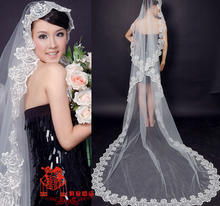1.5-3 Meter Champagne/white/red/ivory color Long Single-layer Embroidery Lace Bridal Wedding Veil