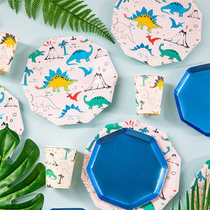 2021 tiktok Paper Plate Party Supplies Blue Dinosaur Plates And Cups For Kids Birthday Party Decoration