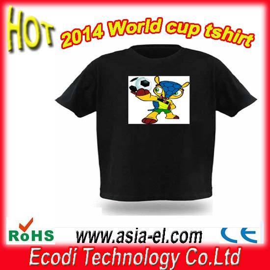 ¡Caliente!! Nuevo! 2014 Copa del Mundo LED T-shirt/Light hasta Shirts / <span class=keywords><strong>ecualizador</strong></span> <span class=keywords><strong>camiseta</strong></span> de sonido activa