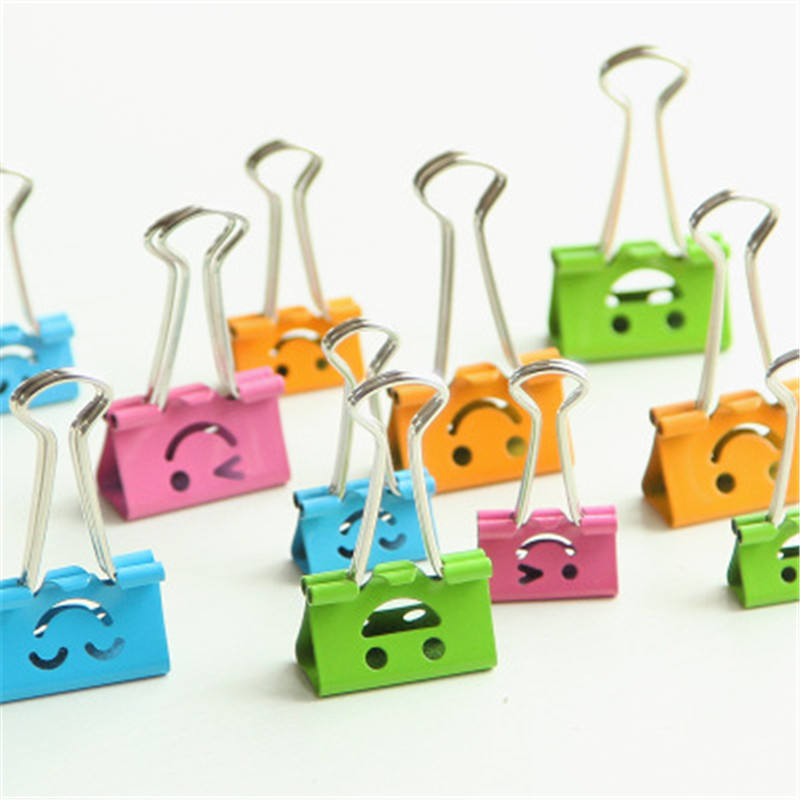 Hoomalll Brand Cute Kawaii Smile Metal Binder Clips Sweet Expression Food Bag Clips Note Clips 10PCs Random Mixed 19mm Wide