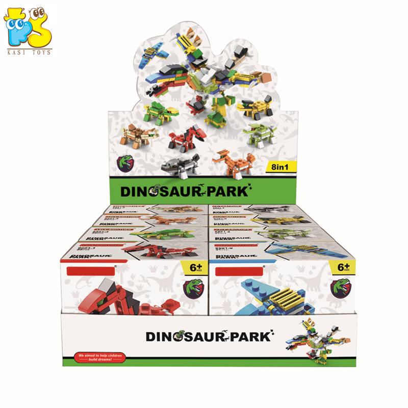 Hot selling mini particle building blocks educational 8 in 1 deformed 3D transformable dinosaur bricks toys for kid