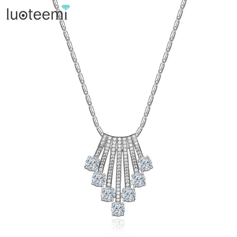 LUOTEEMI Fashion New Design Jewelry Luxury Brand Micro Pave Cubic Zirconia Pendant Necklace For Women