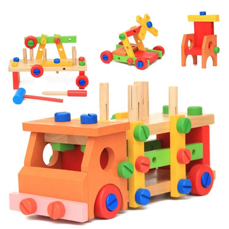 Multi-Functional Diy Tools Truck Knocking Screw Wooden Toy Car Assembly Kit Toys building blocks toys