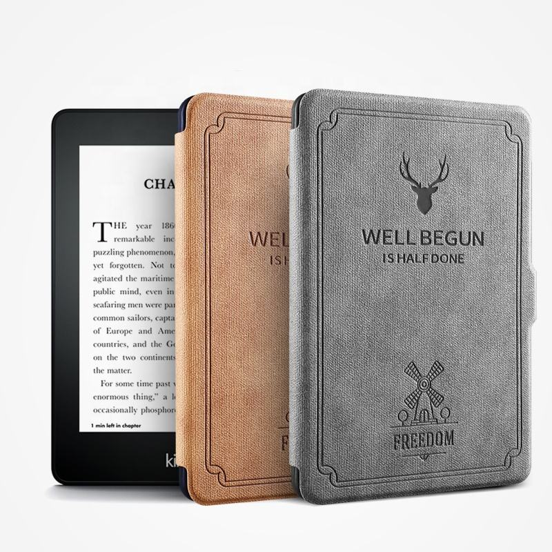 Ultra-thin Smart Magnetic New design deer pattern soft silicone back 6 inch tablet case for kindle paperwhite 123