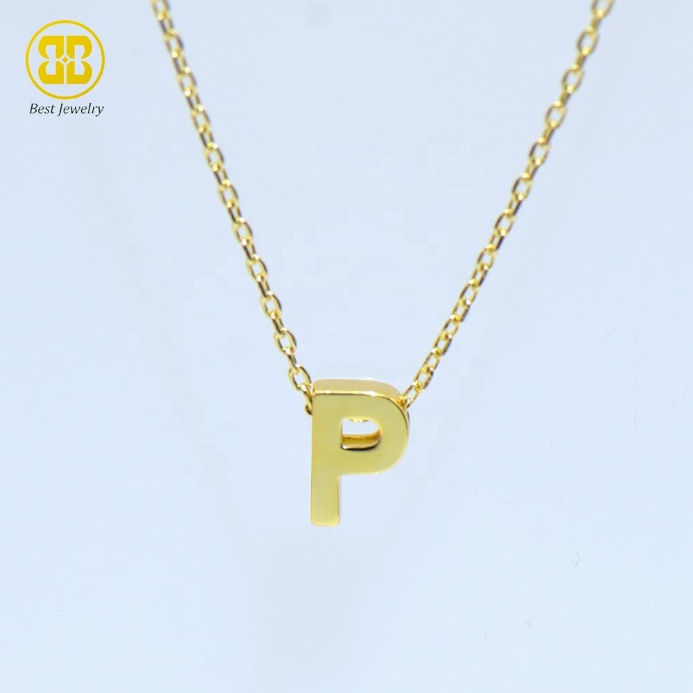 Best Jewelry Newest 925 Sterling Silver DIY Combination Initial Alphabet Letter P Solid Gold Tiny Minimalist Necklace