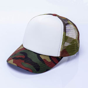YUEXING Free Sample OEM high quality hat custom logo children Spot 5 panel blank baby camo trucker mesh cap