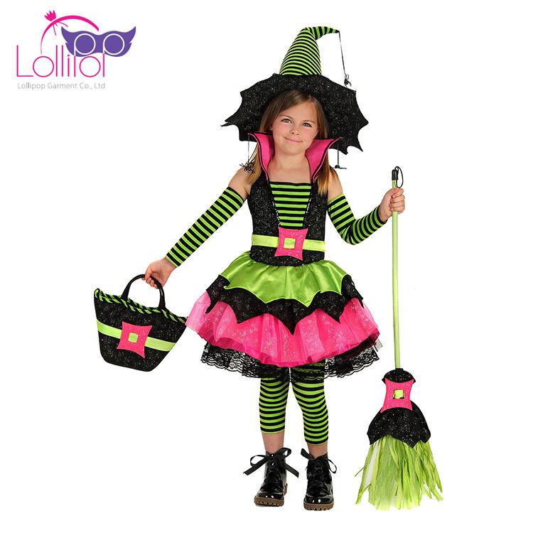 Oem ترحيب كبير الاطفال الساحرة هالوين ازياء أسعار رخيصة للبيع