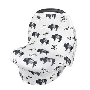 Amazon best selling Multi-Use Stretchy Cotton Nursing Breastfeeding Cover Scarf Baby Car Seat Cover Baby Carseat Canopy