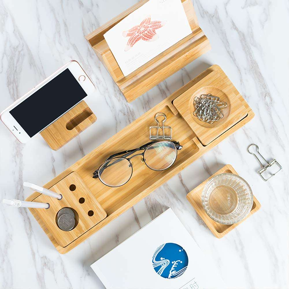 Nice design home office wooden bamboo table desktop storage tray desk organizer set