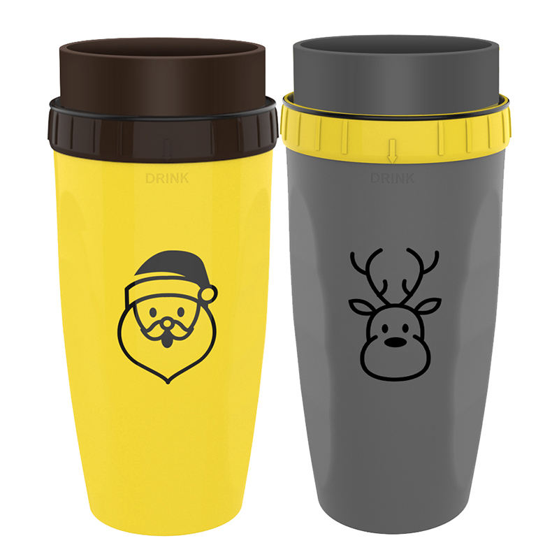 Twizz Travel Mug with Unique Twist Leak Proof Design Silicone Membrane Twist Top Double Walled Insulated Mug