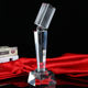 wholesale high-quality blank Microphone Crystal Trophy for singing competition business Gift
